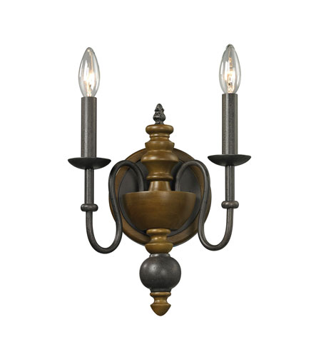 buy popular 2b652 47ac4 ELK Lighting French Country 2 Light Wall Sconce in Vintage Rust 14185/2