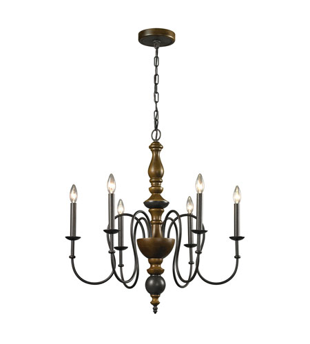 elk french country 6 light 28 inch vintage rust chandelier ceiling light