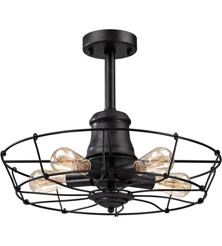 ELK 14259/5 Glendora 5 Light 20 inch Wrought Iron Black Semi Flush Mount Ceiling Light photo