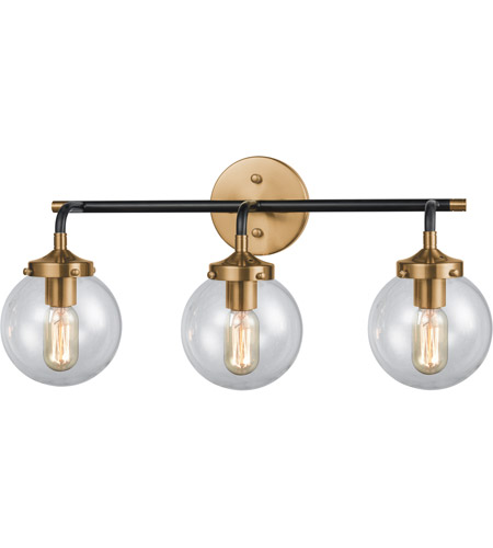 ELK 14428/3 Boudreaux 3 Light 24 inch Matte Black and Antique Gold ...