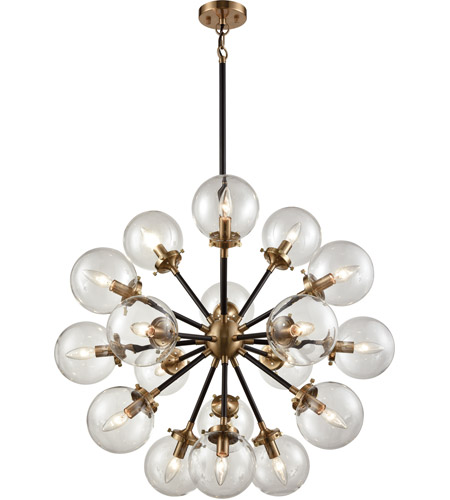 ELK 14435/18 Boudreaux 18 Light 32 inch Matte Black and Antique Gold  Chandelier Ceiling Light - ELK 14435/18 Boudreaux 18 Light 32 Inch Matte Black And Antique Gold