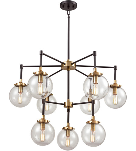 ELK 14438/6+3 Boudreaux 9 Light 30 Inch Matte Black And Antique Gold  Chandelier Ceiling Light