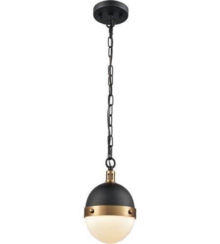 Elk 14474 1 Harmelin Light 7 Inch Matte Black With Satin Br Mini Pendant Ceiling