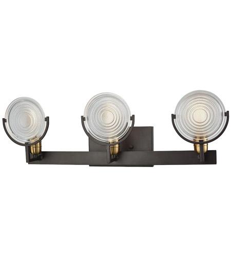 elk ocular 3 light 26 inch oil rubbed bronze with satin brass vanity wall light