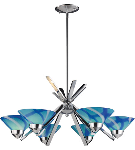 ELK 1475/6CAR Refraction 6 Light 26 inch Polished Chrome Chandelier Ceiling Light in Carribean photo