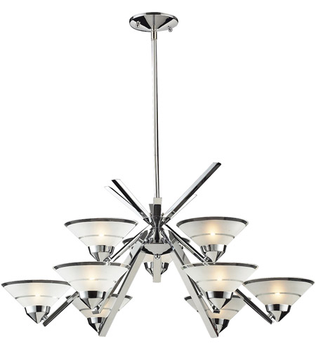 ELK 1476/6+3 Refraction 9 Light 31 inch Polished Chrome Chandelier Ceiling Light in Etched Clear Glass photo