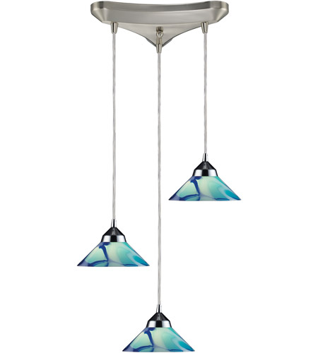 ELK 1477/3CAR Refraction 3 Light 10 inch Polished Chrome Pendant Ceiling Light in Carribean Glass photo