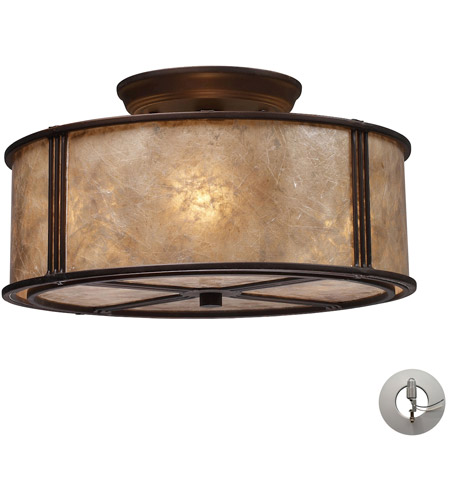 ELK 15031/3-LA Barringer 3 Light 13 inch Aged Bronze Semi-Flush Mount Ceiling Light in Incandescent, Recessed Adapter Kit photo