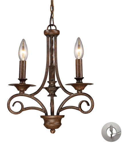 ELK 15041/3-LA Gloucester 3 Light 12 inch Antique Bronze Chandelier Ceiling Light in Recessed Adapter Kit photo