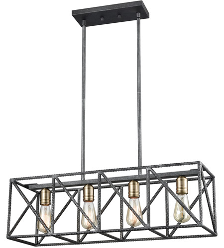 ELK 15253/4 Crossbar 4 Light 28 inch Silverdust Iron with Satin Brass Island Light Ceiling Light
