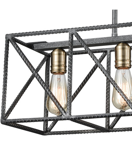 ELK 15253/4 Crossbar 4 Light 28 inch Silverdust Iron with Satin Brass Island Light Ceiling Light 15253_4_alt1.jpg