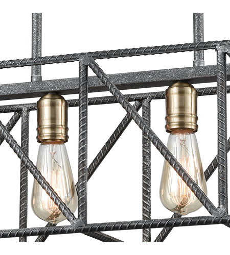 ELK 15253/4 Crossbar 4 Light 28 inch Silverdust Iron with Satin Brass Island Light Ceiling Light 15253_4_alt4.jpg