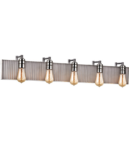 ELK 15924/5 Corrugated Steel 5 Light 40 inch Polished Nickel with Weathered Zinc Vanity Light Wall Light in Weathered Zinc and Polished Nickel photo