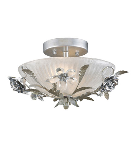ELK Lighting Rose Vine 2 Light Semi-Flush Mount in Silver Leaf 16003/2 photo