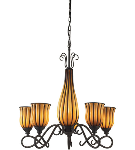 ELK Lighting Phoenix 5 Light Chandelier in Dark Rust 1607/5+1 photo