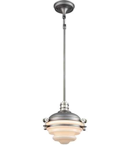 ELK 16106/1 Riley 1 Light 10 inch Weathered Zinc with Polished Nickel Mini Pendant Ceiling Light photo thumbnail
