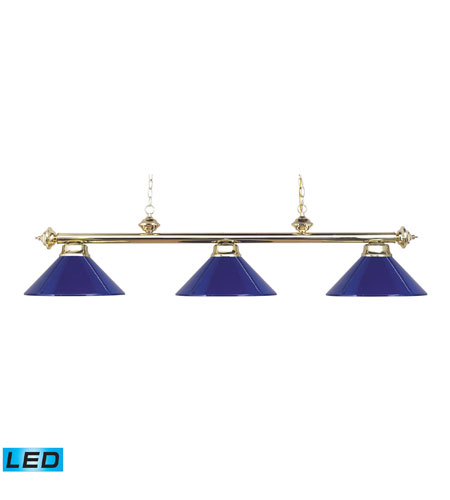 ELK 167-PB-BLUE-LED Casual Traditions LED 54 inch Polished Brass Billiard/Island Ceiling Light photo