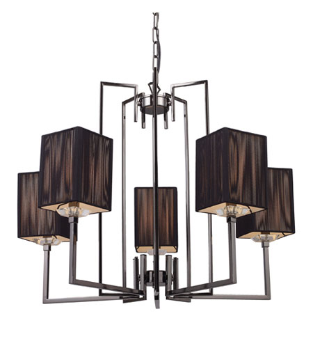 ELK Lighting Cubic 5 Light Chandelier in Black Chrome 17014/5 photo