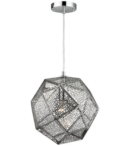 Elk 171901 roxa 1 light 12 inch polished chrome pendant ceiling light aloadofball Images