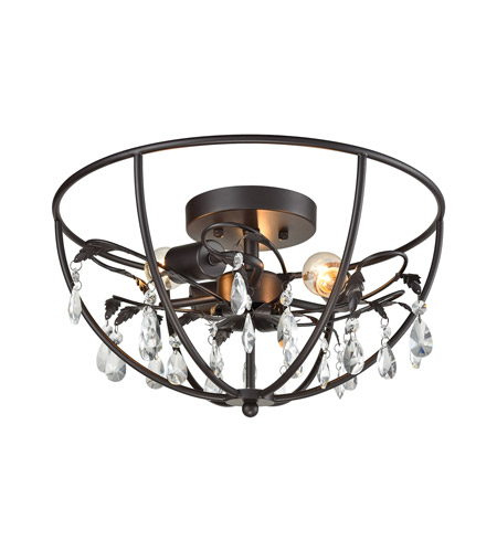 elk 18221/3 bridget 3 light 17 inch oil rubbed bronze semi flush