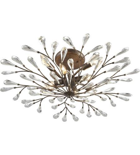 Elk 18242 8 Crislett 8 Light 32 Inch Sunglow Bronze Semi Flush Mount Ceiling Light