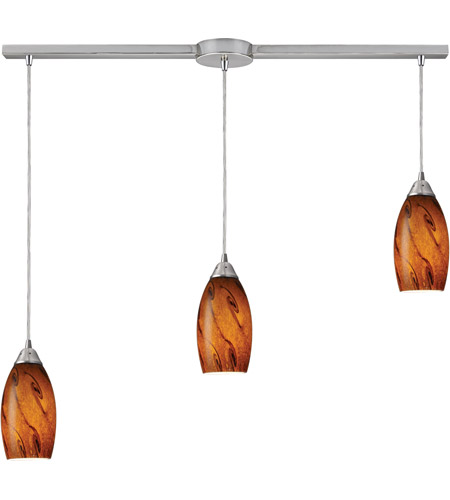ELK 20001/3L-BG Galaxy 3 Light 10 inch Satin Nickel Pendant Ceiling Light in Brown Glass photo