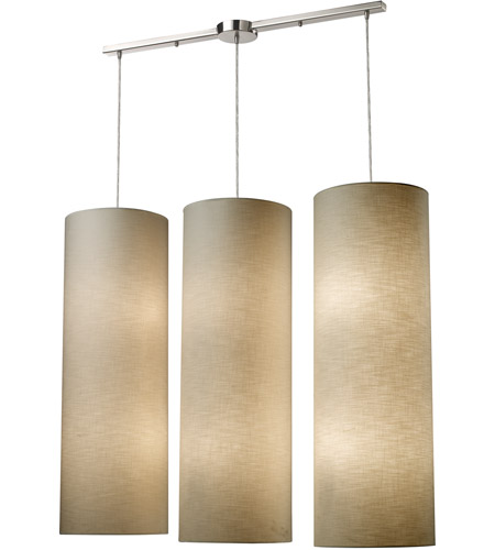 ELK Lighting Fabric Cylinders 12 Light Pendant in Satin Nickel 20160/12L photo