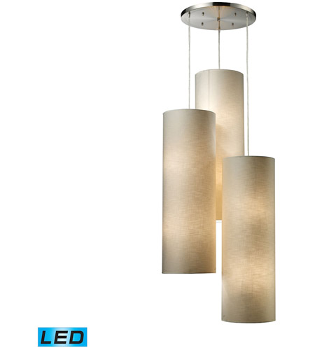 ELK 20160/12R-LED Fabric Cylinders LED 28 inch Satin Nickel Pendant Ceiling Light photo