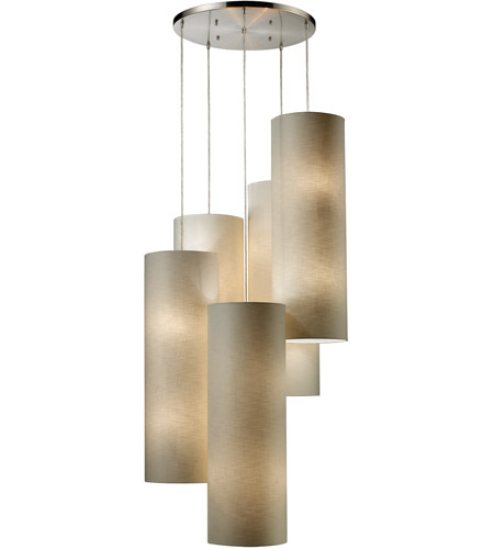 ELK 20160/20R Fabric Cylinders 20 Light 33 inch Satin Nickel Pendant Ceiling Light in Standard photo