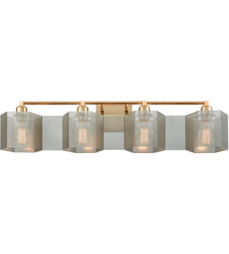 ELK 21108/4 Compartir 4 Light 35 inch Satin Brass with Polished Nickel Vanity Light Wall Light photo