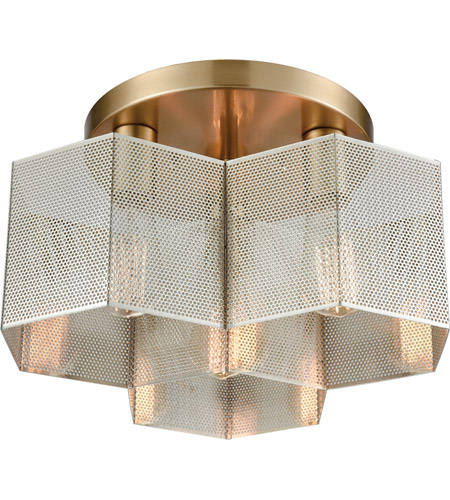 ELK 21111/3 Compartir 3 Light 15 inch Polished Nickel with Satin Brass Semi Flush Mount Ceiling Light photo