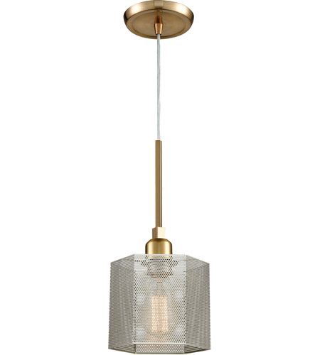 ELK 21112/1 Compartir 1 Light 6 inch Polished Nickel with Satin Brass Pendant Ceiling Light photo