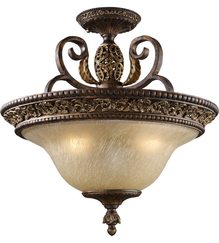 ELK Lighting Regency 3 Light Semi-Flush Mount in Burnt Bronze 2157/3 photo