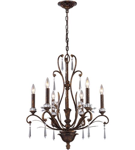 ELK Lighting Emilion 6 Light Chandelier in Burnt Bronze 2183/6 photo