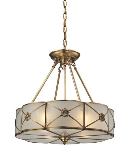 Elk Lighting Modern Farmhouse: ELK 22004/4 Preston 4 Light 18 Inch Brushed Brass Pendant