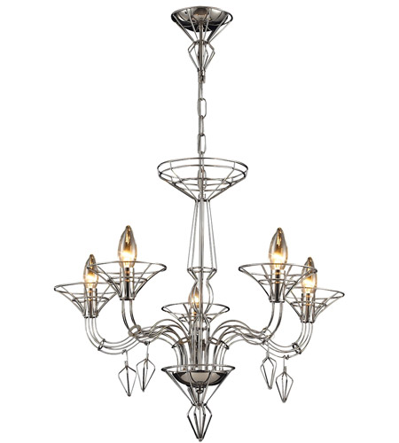 ELK 23001/5 Exo 5 Light 26 inch Satin Nickel Chandelier Ceiling Light photo thumbnail
