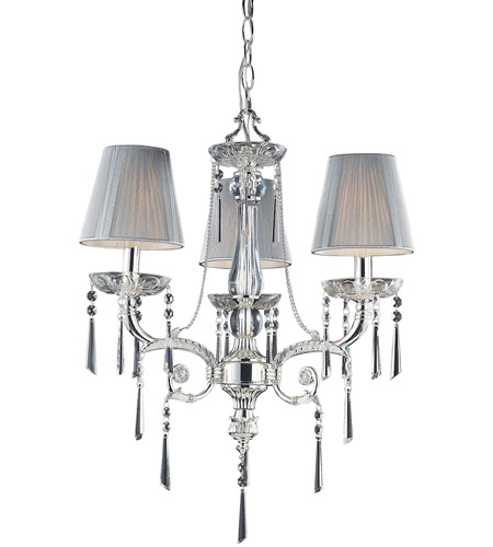 ELK Lighting Princess 3 Light Chandelier in Polished Silver 2395/3 photo