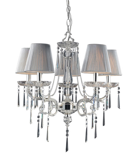 ELK Lighting Princess 5 Light Chandelier in Polished Silver 2396/5 photo