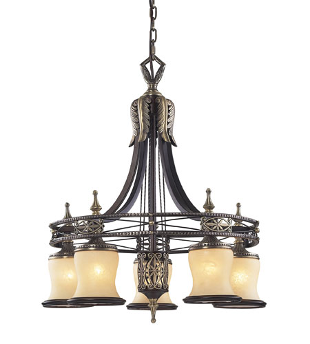 Elk Lighting Georgian Court 5 Light Chandelier In Antique