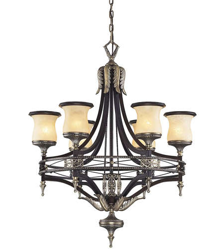 ELK 2431/6 Georgian Court 6 Light 31 inch Antique Bronze & Dark Umber Chandelier Ceiling Light in Standard photo