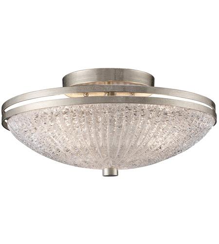 New York 3 Light 16 Inch Renaissance Silver Semi Flush Mount Ceiling Light