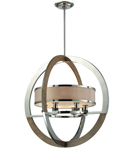 elk 31018 6 crestwood 6 light 24 inch polished nickel pendant