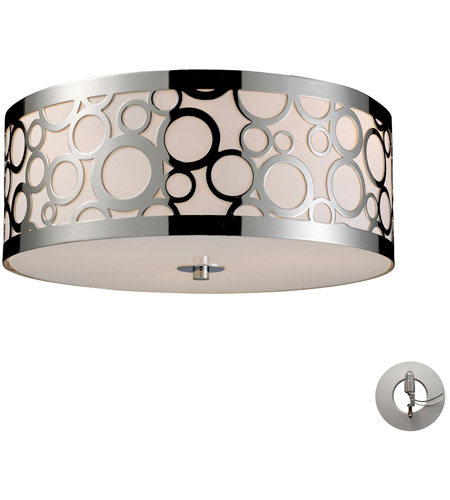ELK 31024/3-LA Retrovia 3 Light 16 inch Polished Nickel Flush Mount Ceiling Light in Incandescent, Recessed Adapter Kit photo