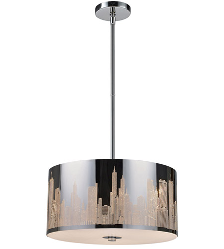 ELK 31038/3 Skyline 3 Light 16 inch Polished Stainless Steel Pendant Ceiling Light in Standard photo