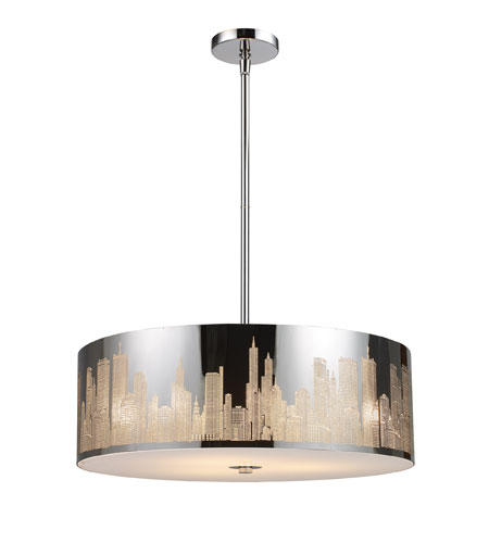 ELK 31039/5 Skyline 5 Light 24 inch Polished Stainless Steel Pendant Ceiling Light in Standard photo