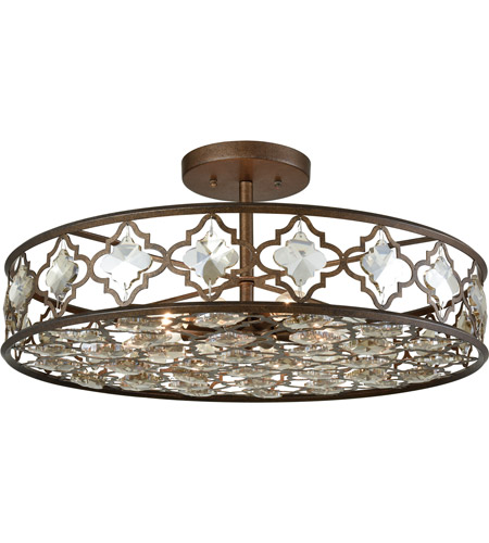 elk armand 8 light 25 inch weathered bronze semi flush mount ceiling light