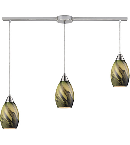 ELK 31133/3L-PLN Formations 3 Light 36 inch Satin Nickel Pendant Ceiling Light in Planetary Glass photo