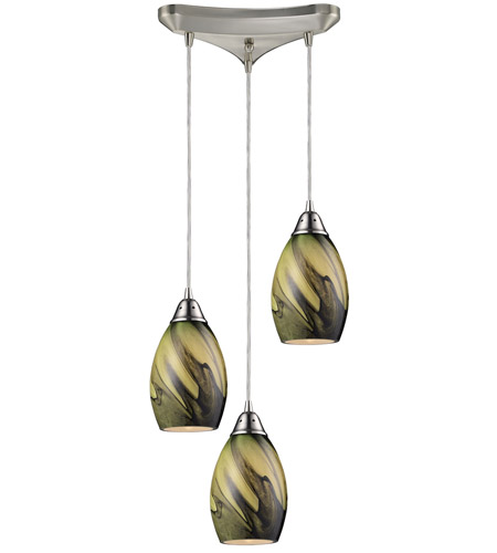 ELK 31133/3PLN Formations 3 Light 10 inch Satin Nickel Pendant Ceiling Light in Planetary Glass photo
