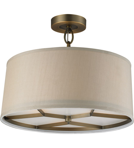 Baxter 3 Light 16 Inch Brushed Antique Brass Semi Flush Mount Ceiling Light In Triangular Canopy