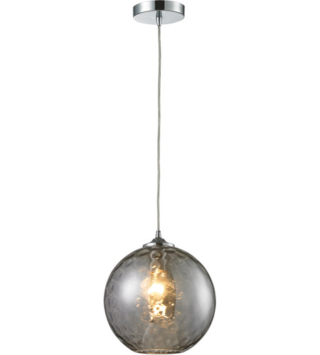 ELK 31380/1SMK Watersphere 1 Light 10 inch Polished Chrome Pendant Ceiling Light in Smoke Glass, Standard photo